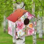 """Скворечник деревянный """"Птичка играет в прятки"""", с цветным рисунком, 19.5×13×19 см"""