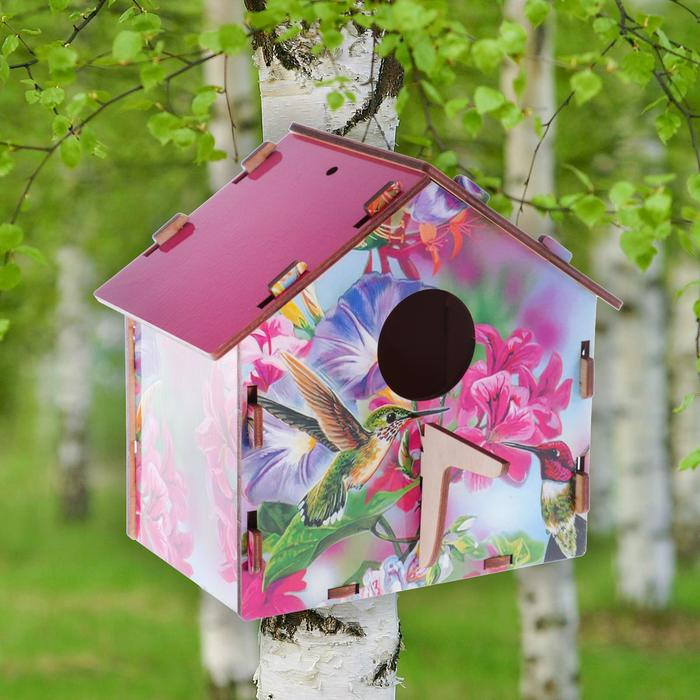 """Скворечник деревянный """"Колибри среди цветов"""", с цветным рисунком, 19.5×13×19 см"""