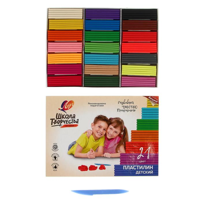 Пластилин 21 цвет 420 г «Школа творчества»