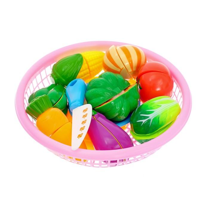 """Набор продуктов-нарезка """"Поварёнок"""" в корзинке, на липучках, 20 предметов, цвета МИКС"""