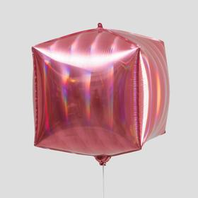 """Balloon foil cube 24"""", pink color holography strip"""