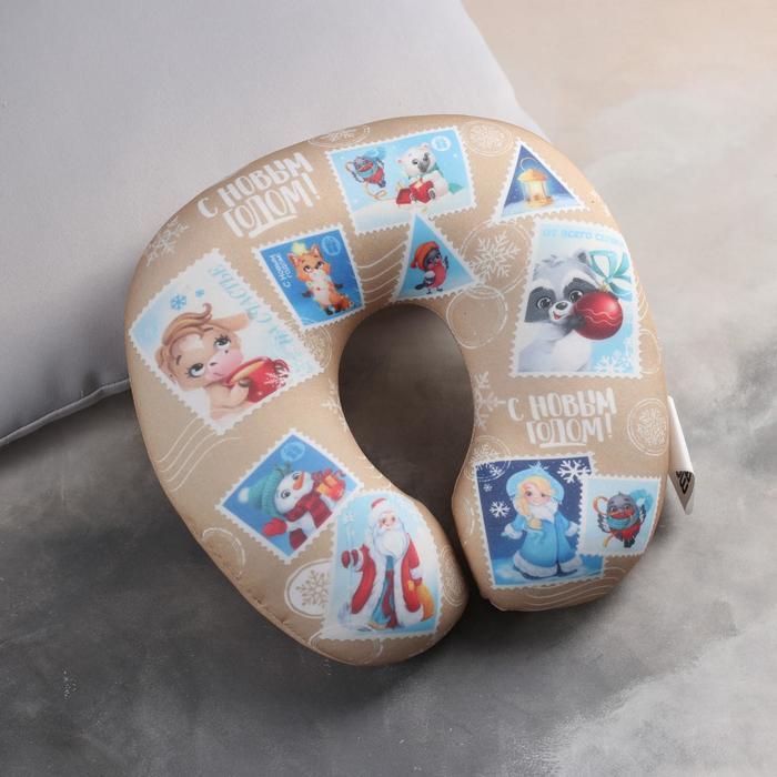 Подголовник-антистресс «С Новым годом!», почтовые марки - фото 1051627