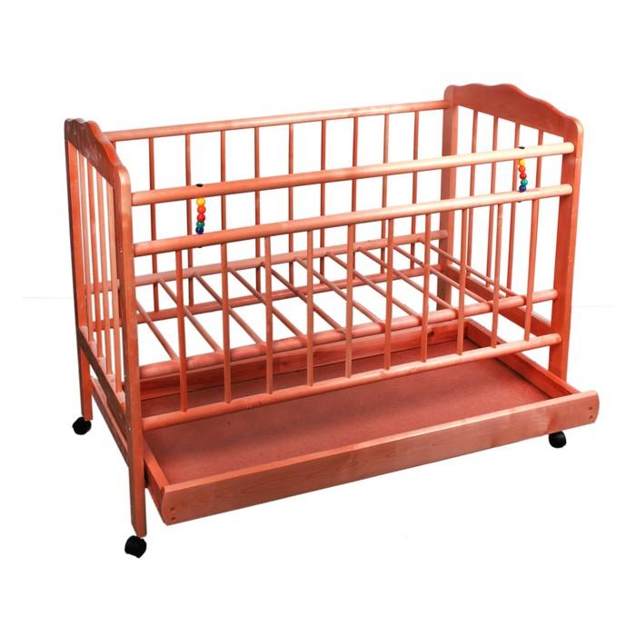 Детская кроватка «Женечка-2» на колёсах, с ящиком, цвет вишня