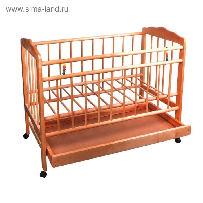 Детская кроватка «Женечка-2» на колёсах, с ящиком, цвет орех