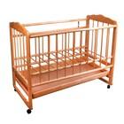 Детская кроватка «Женечка-4» на колёсах или качалке, с ящиком, цвет орех