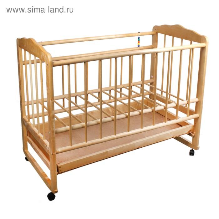 Детская кроватка «Женечка-4» на колёсах или качалке, с ящиком, цвет натуральный