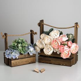 Набор деревянных ящиков 2 в 1 с шильдиком, «Счастья», 25х15х30, 21х12х23 см
