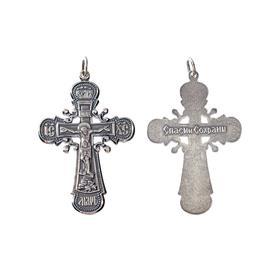 """Крест нательный """"Иисус Христос"""" посеребрение с оксидированием"""