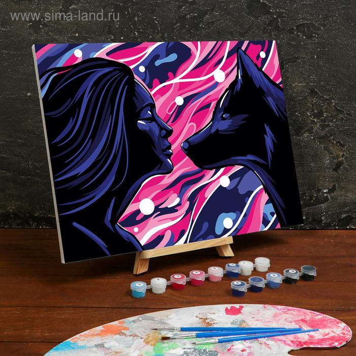 Картина по номерам на холсте с подрамником «Девушка и волк ...