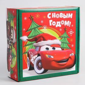"""Коробка подарочная складная """"С Новым Годом"""", Тачки, 24.5 × 24.5 × 9.5 см"""