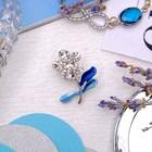 """Брошь """"Цветочек"""" малая, цвет голубой в серебре"""
