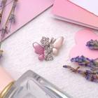 """Брошь """"Бабочка"""", оригинальная, малая, цвет розовый в серебре"""