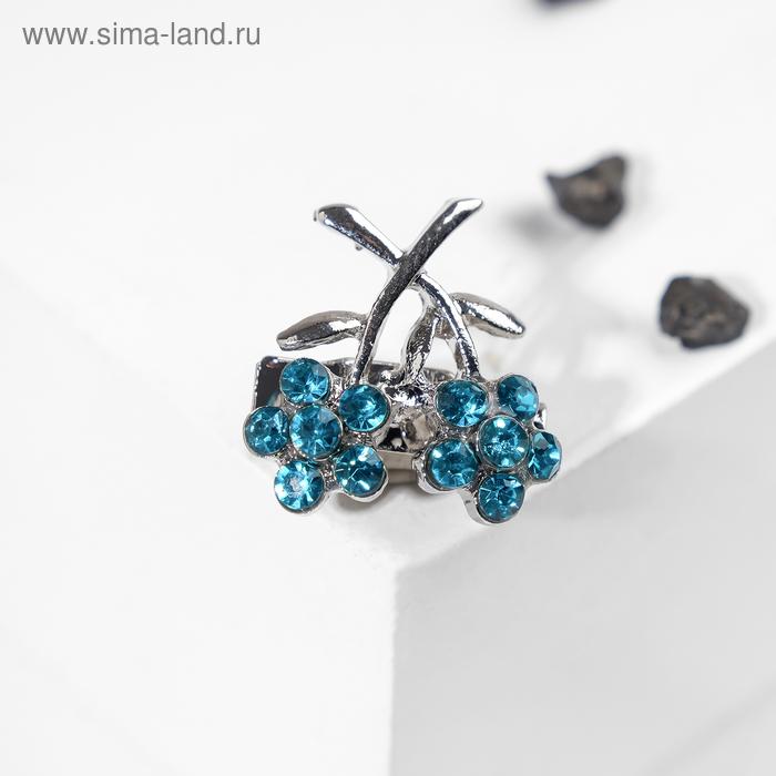 """Брошь """"Незабудки"""" малая, цвет голубой в серебре"""