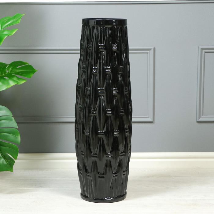 """Ваза напольная """"Корзинка"""", керамика, черная, 72 см - фото 1225975"""