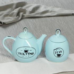 """Чайная пара """"Петелька"""", цвет голубой, 2 предмета: чайник 0,8 л. и сахарница 0,5 л"""