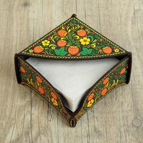 """Wooden napkin holder """"Khokhloma strawberry"""", color"""
