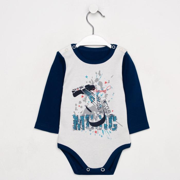 Боди «Музыка» детское, цвет белый/синий, рост 68 см - фото 1961911