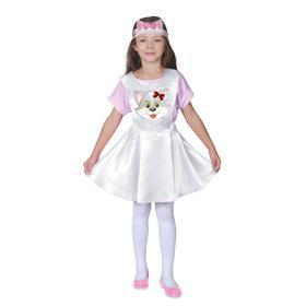 Карнавальный костюм «Кошечка», белый сарафан, маска-ободок, р. 30, рост 110-116 см