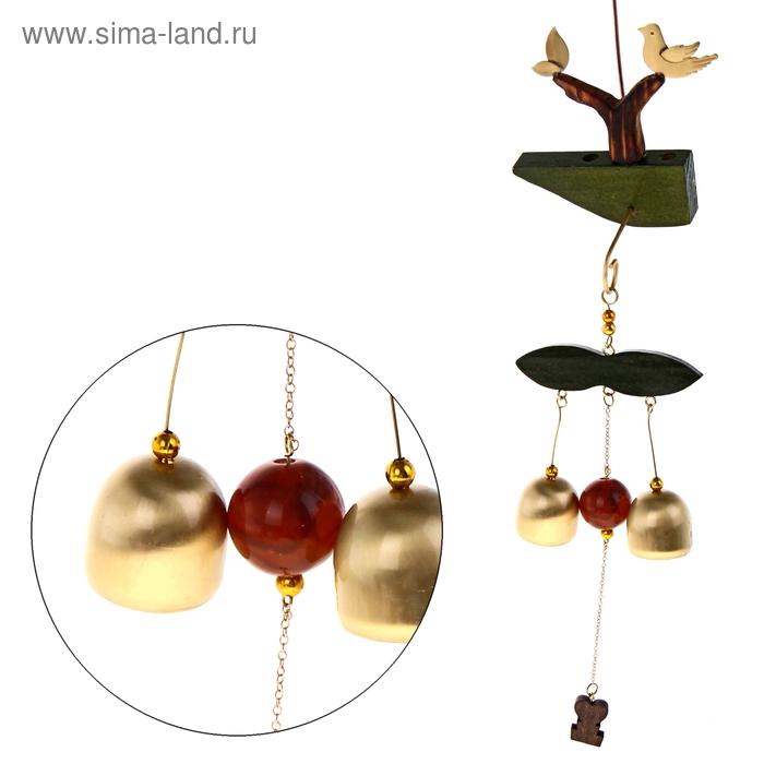 """Музыка ветра """"Птички на дереве"""" 2 колокольчика, 1 фигурка"""