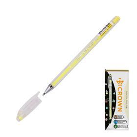"""Ручка гелевая Crown """"Hi-Jell Pastel"""" узел 0,8мм, желтая пастель HJR-500P"""
