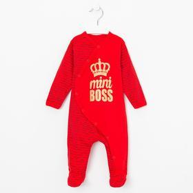 Комбинезон для мальчика «mini BOSS» цвет красный, рост 62 см