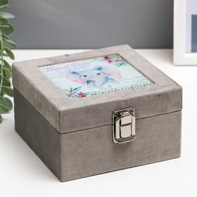 """Box tree """"Cute baby elephant"""" velvet, glass 8х14х14 cm"""