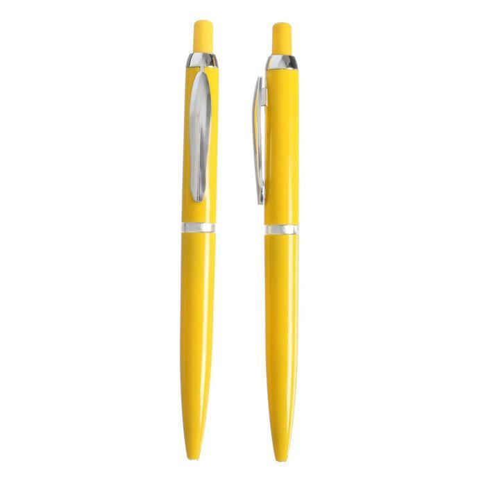 Ручка шариковая автоматическая Лого корпус желтый с серебристыми вставками, стержень синий