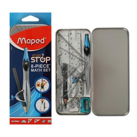Mathematical set Maped STUDY STOP 8предм,compass with universal.keep metal.box,suspension