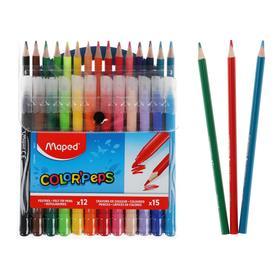 Набор для рисования Maped Color Peps: 12 фломастеров + 15 цветных карандашей, в футляре