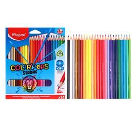 Карандаши 24 цвета Maped Color Peps Strong пластиковые, повышенной прочности, европодвес
