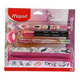 Набор 8 предметов Maped Tatoo Париж: пенал, ластик, точилка, ручка 4х-цветная, 2 чёрнографитных карандаша, 2 капиллярные ручки