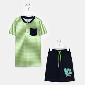 Комплект для мальчика, цвет салатовый/полоска, рост 104 см