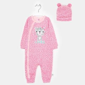 Комбинезон с шапочкой, цвет светло-розовый/леопард, рост 74 см