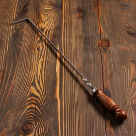 Кочерга узбекская с деревянной ручкой, матовая 40/1см, сталь 3мм