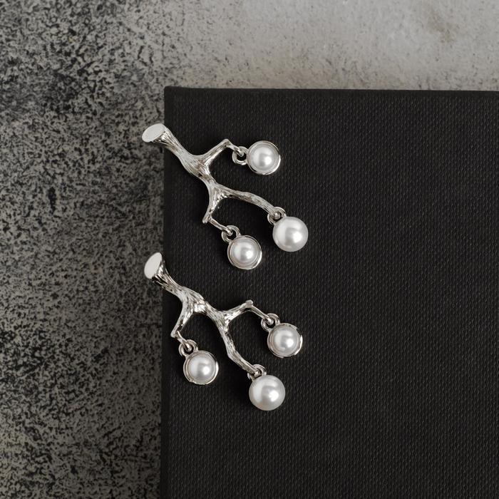 """Серьги с жемчугом """"Гранж"""" ветвь, цвет белый в серебре - фото 493073"""