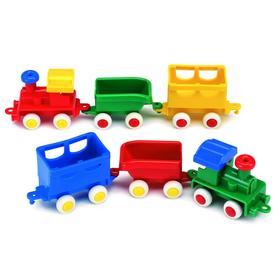Паровоз с двумя вагончиками, цвет МИКС