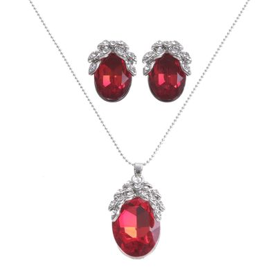 """Гарнитур 2 предмета: кулон, серьги """"Жаклин"""", лоза, цвет красный в серебре"""