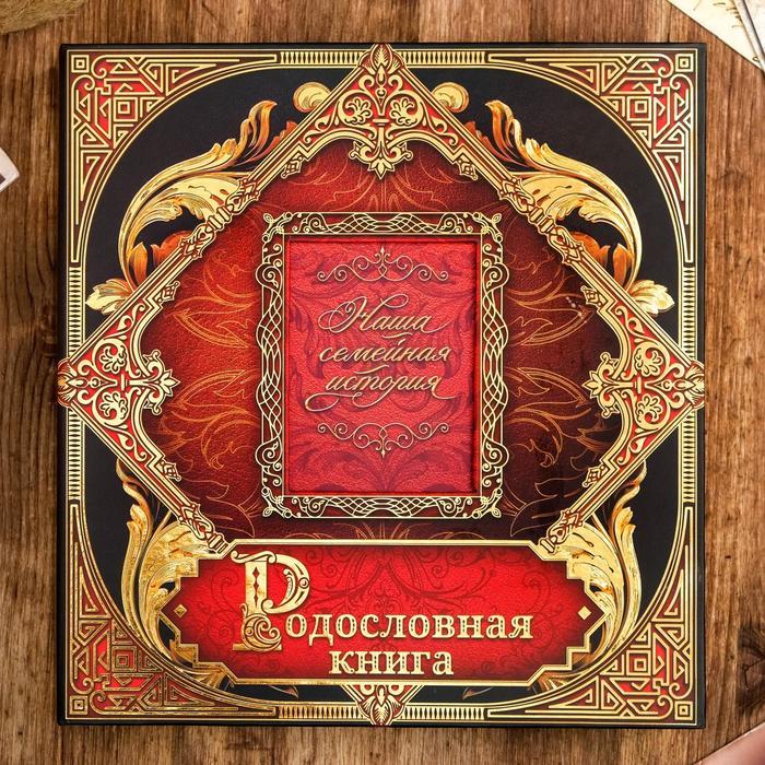 Родословная книга с рамкой под фото «Наша семейная история», 25,5 х 26,5 см