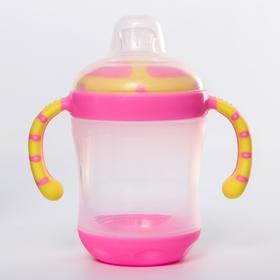 Поильник детский с силиконовым носиком, 210 мл., цвет розовый