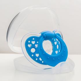 Соска-пустышка классическая, силикон, от 3 мес., в контейнере, цвет голубой