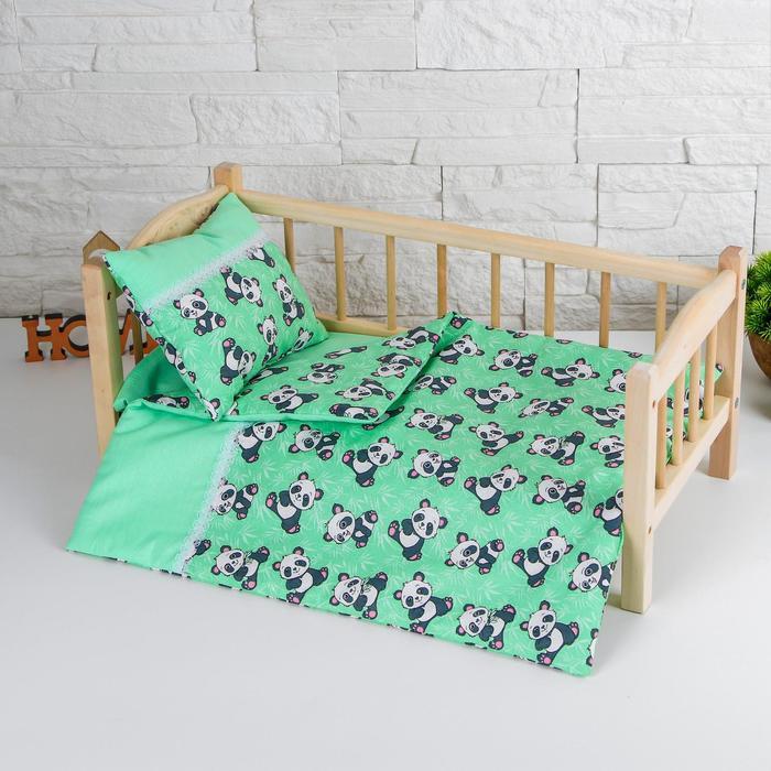 """Кукольное постельное""""Панды на зеленом""""простынь,одеяло,46*36,подушка 23*17"""