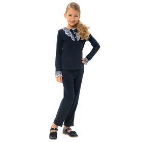 Блузка для девочек, рост 140 см, цвет сине-белый
