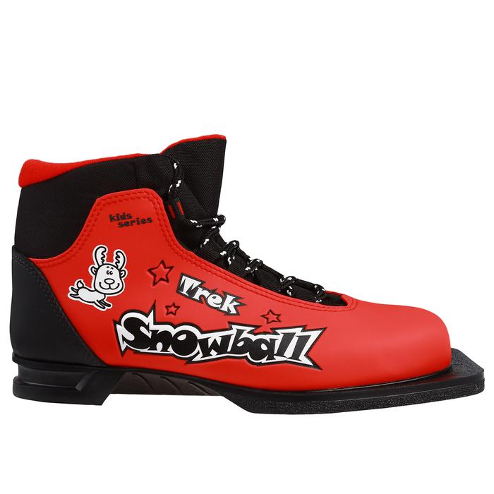 Ботинки лыжные TREK Snowball NN75 ИК, цвет красный, лого чёрный, размер 35
