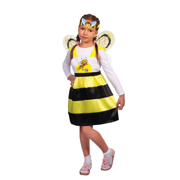 Карнавальный костюм «Пчёлка Жужа», сарафан, крылья, маска, р. 28, рост 98-104 см