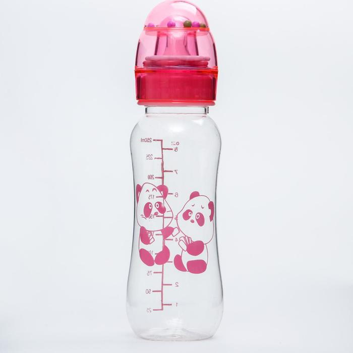 Бутылочка для кормления, крышка-погремушка, 225 мл., цвет розовый - фото 978784