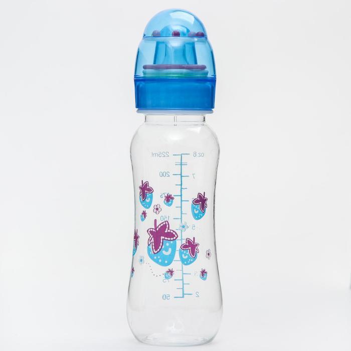 Бутылочка для кормления, крышка-погремушка, 225 мл., цвет голубой - фото 978789