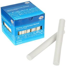 Мелки для рисования, белые 100 штук, мягкие, круглая форма, картонная коробка