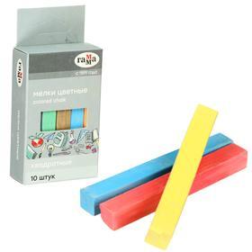 Мелки для рисования, цветные 10 штук, мягкие, квадратная форма, картонная коробка