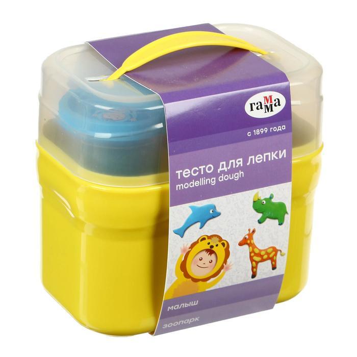 Тесто для лепки «Гамма» «Малыш. Зоопарк», 4 цвета х 60 г, 5 формочек, пластиковый кейс