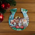 """The sign for bath """"Horseshoe symbol of the year 2021. A bull with a cow"""", 20×18 cm"""